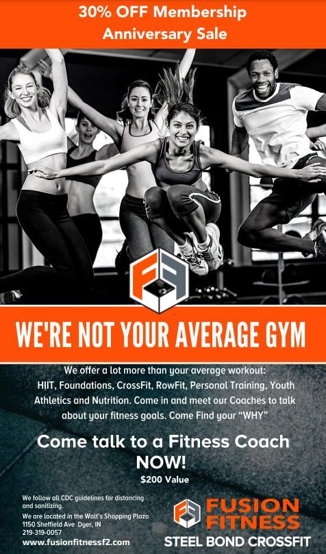 30% Off Membership Anniversary Sale at Fusion Fitness F2 in Dyer!