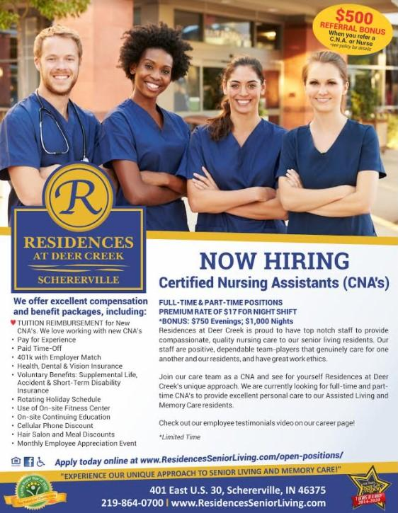 Residences at Deer Creek in Schererville Are Now Hiring CNA's