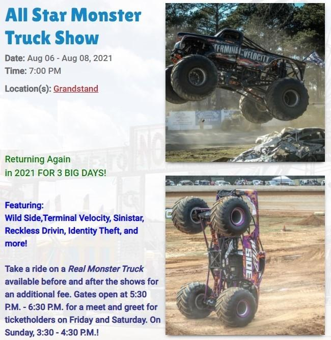 Monster Truck Show at the LAKE COUNTY FAIR  in Crown Point