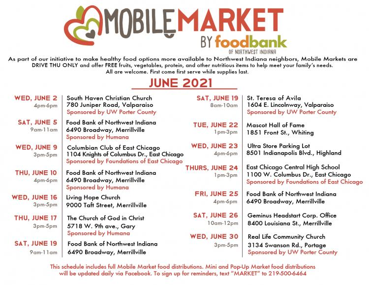 June 2021 Mobile Market Schedule by Food Bank of Northwest Indiana