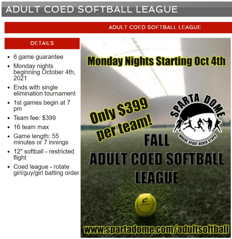 Fall Adult Coed Softball League at Sparta Dome in Crown Point