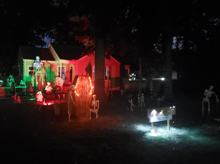 Decorated Halloween Home in Griffith - Gorgons Cemetary (1857 N Jay Ave)