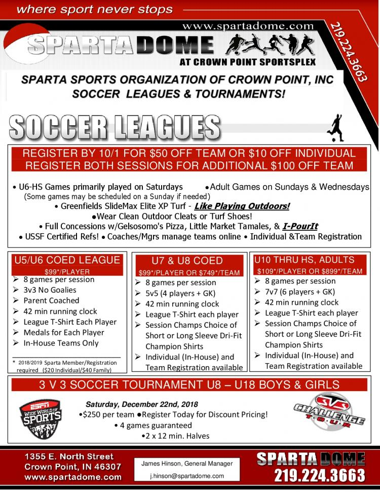 Youth Soccer Leagues at Sparta Dome