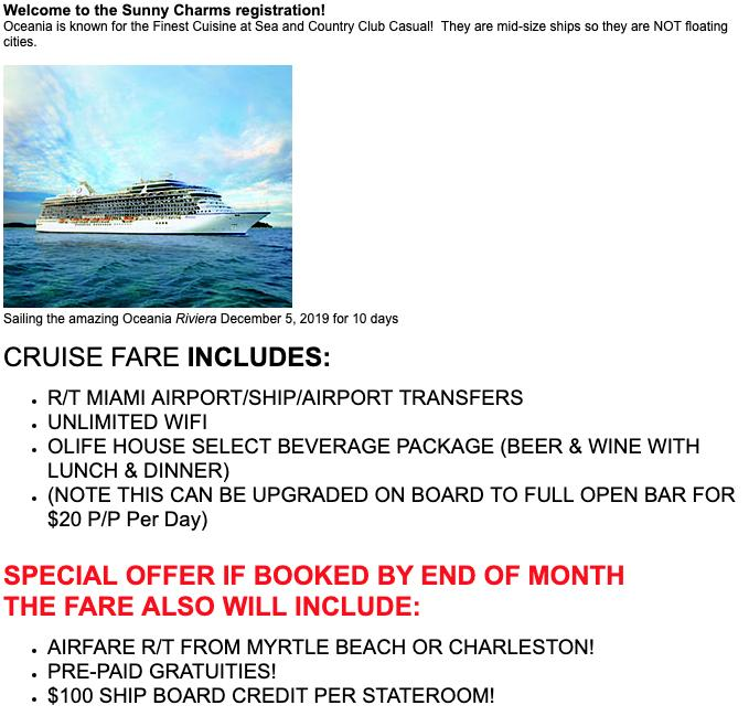 Cruise Planners now taking reservations for our Sunny Charms cruise in December