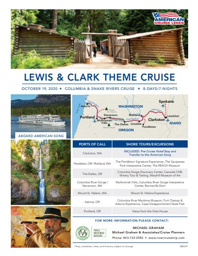 Cruise Planners now taking reservations for Lewis & Clark Theme Cruise in Oct.