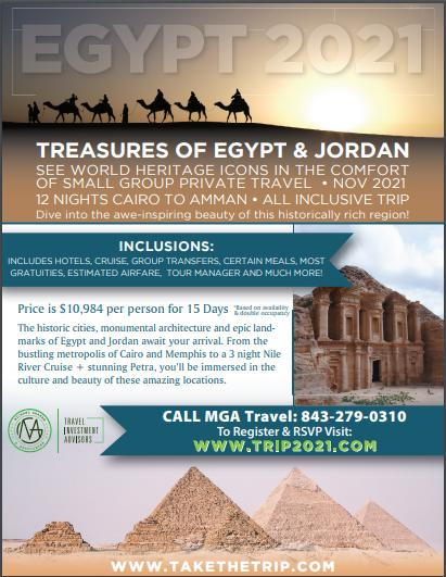Register for Treasures of Egypt & Jordan Trip in 2021 with MGA Travel