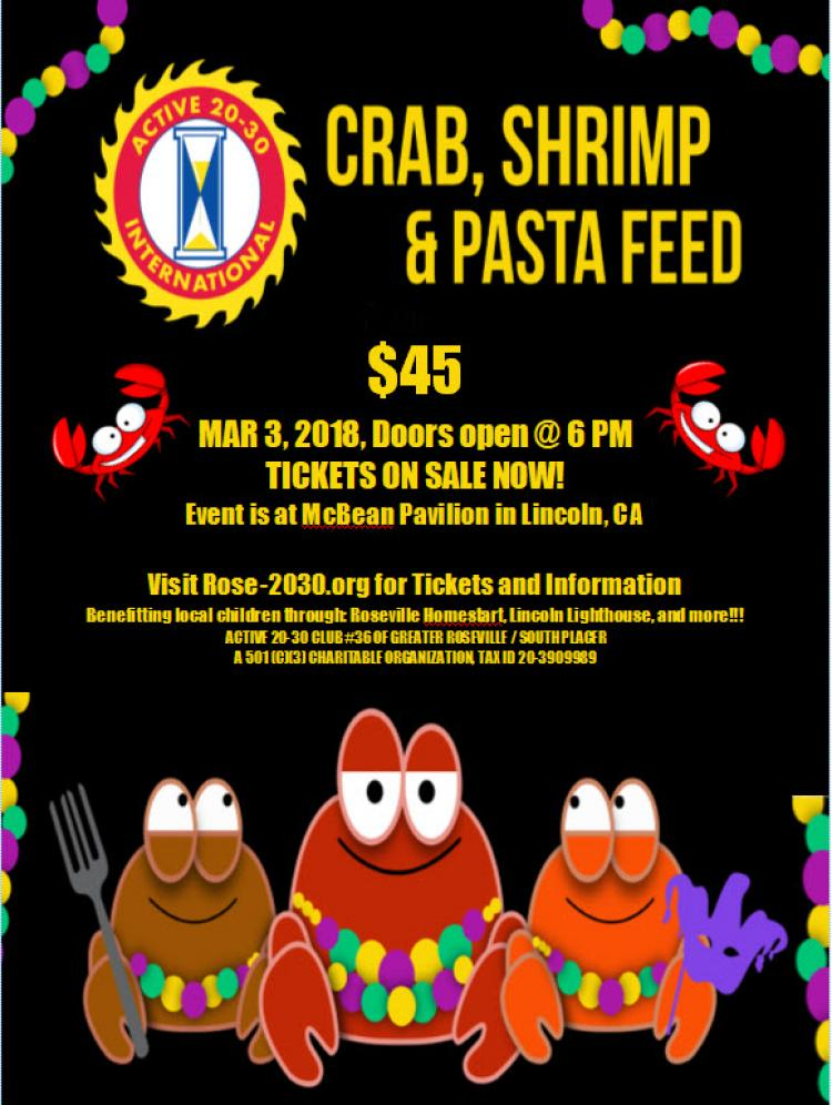Roseville Active 20-30 Club's 23rd Annual Crab Shrimp and Pasta Feed