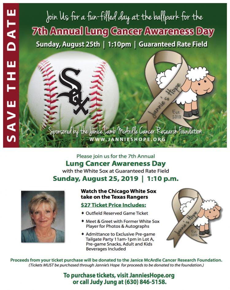 REMINDER:Get tickets for Aug.25th Jannie's Hope-WhiteSox Lung Cancer Awareness