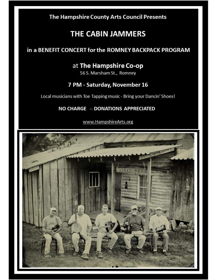 The Cabin Jammers concert to benefit The Romney Backpack Program