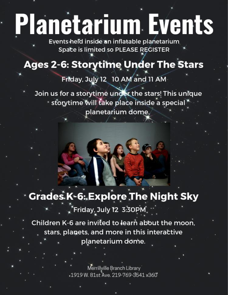 Join us for Storytime under the stars! Birth - 4