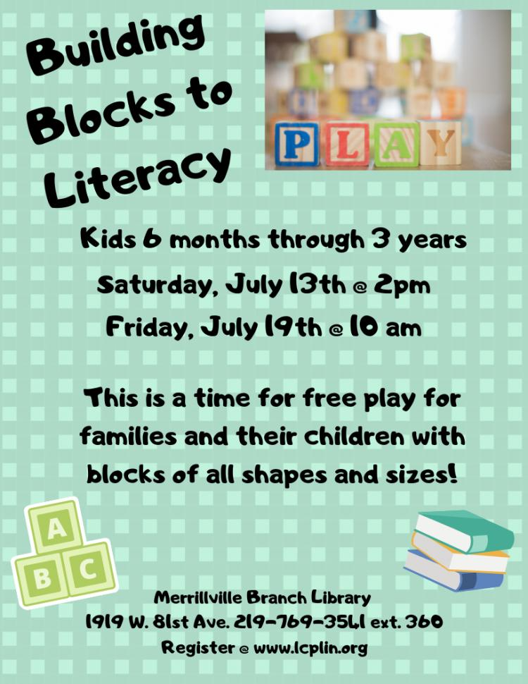 Building Blocks to Literacy - 6 months to 3 years