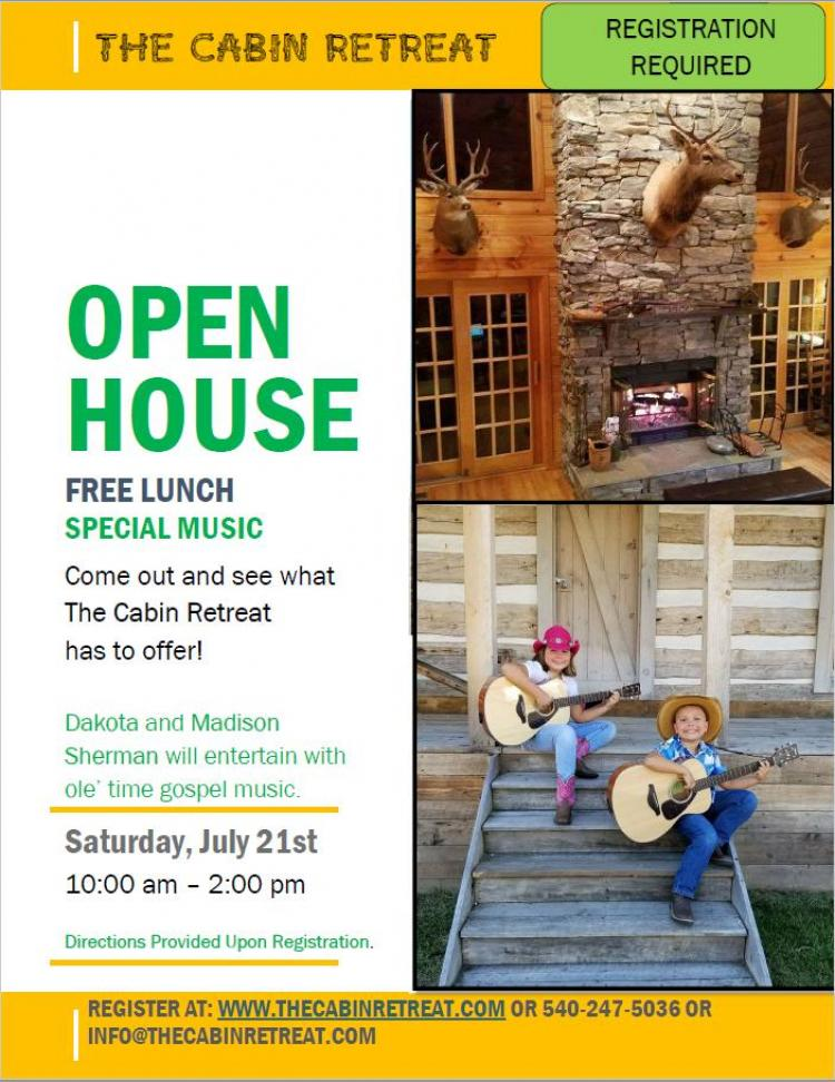 The Cabin Retreat Open House - Registration Required for July 21st