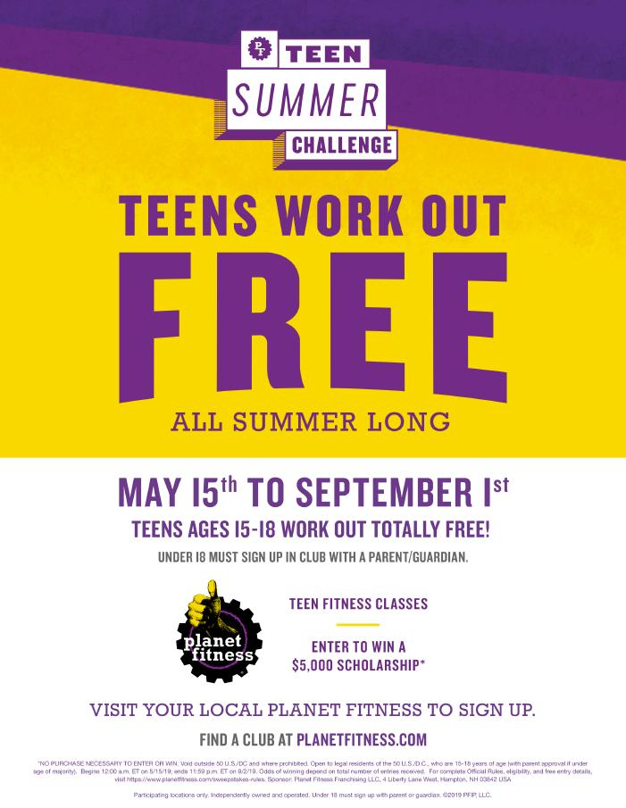 TEENS work out FREE this Summer at Planet Fitness, Cumberland!!