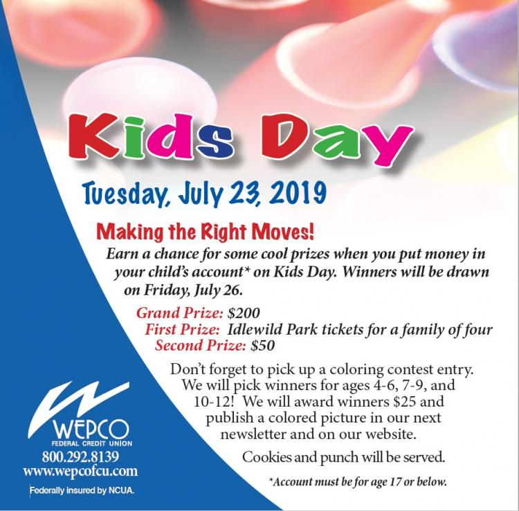 Chance for Prizes at Kids Day - WEPCO