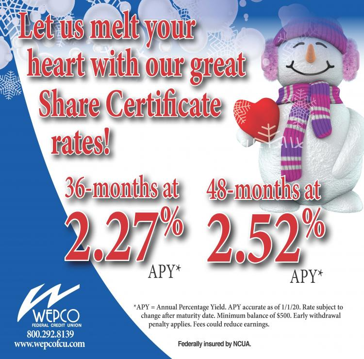 Let WEPCO Melt Your heart with great Share Certificate Rates