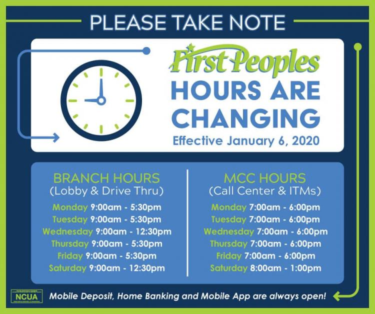 First Peoples Hours are Changing
