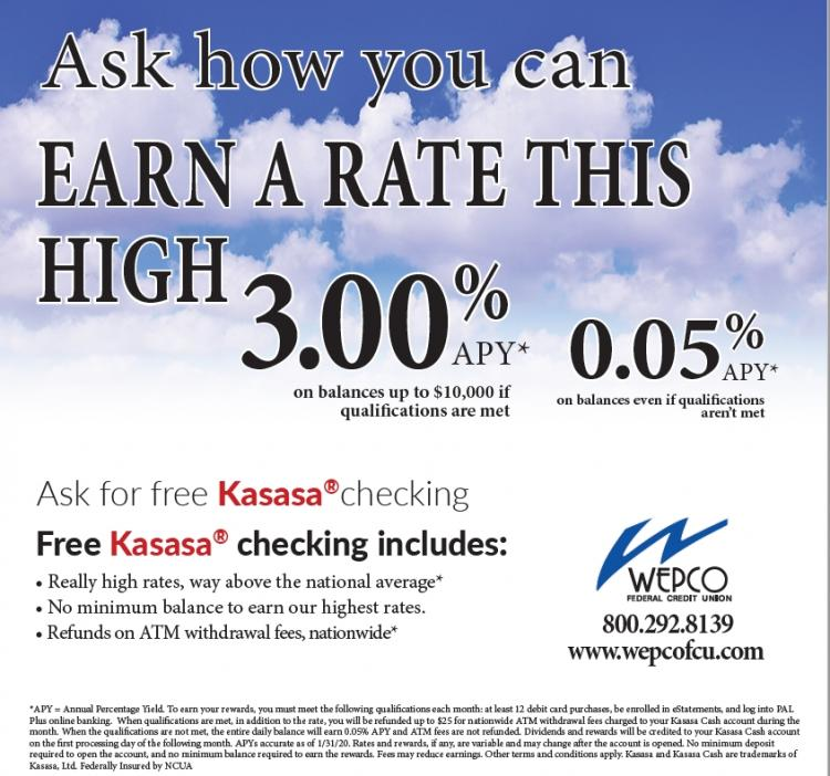 Ask How you can earn up to 3% at WEPCO