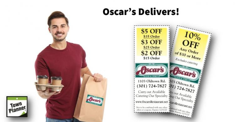 Oscar's Delivers and FREE Dessert with Take Out!