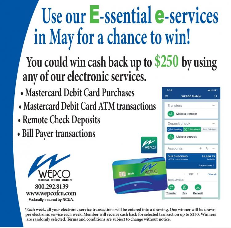 Use WEPCO Electronic services and you could win $250