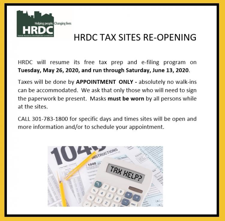 HRDC Tax Sites Re-Open