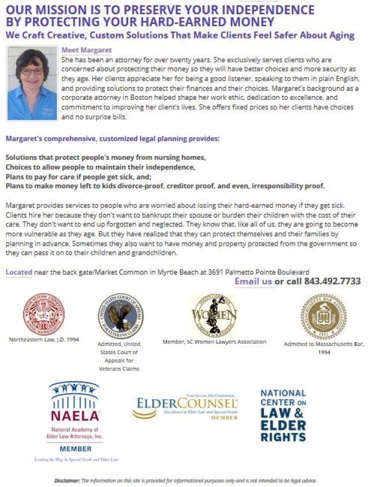 Seniors Protect Your Money/Age With Dignity - Consult Atty. Margaret Wadsworth