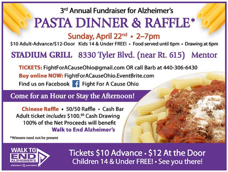 3rd Annual Pasta Dinner & Raffle benefiting the Walk to End Alzheimer's